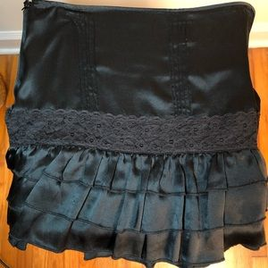 Black Silk, Lace, Ruffle & Pleat Detail Mini Skirt